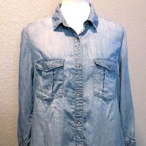 EUC H&M Button Down Blue Denim Shirt Dress Sz 10